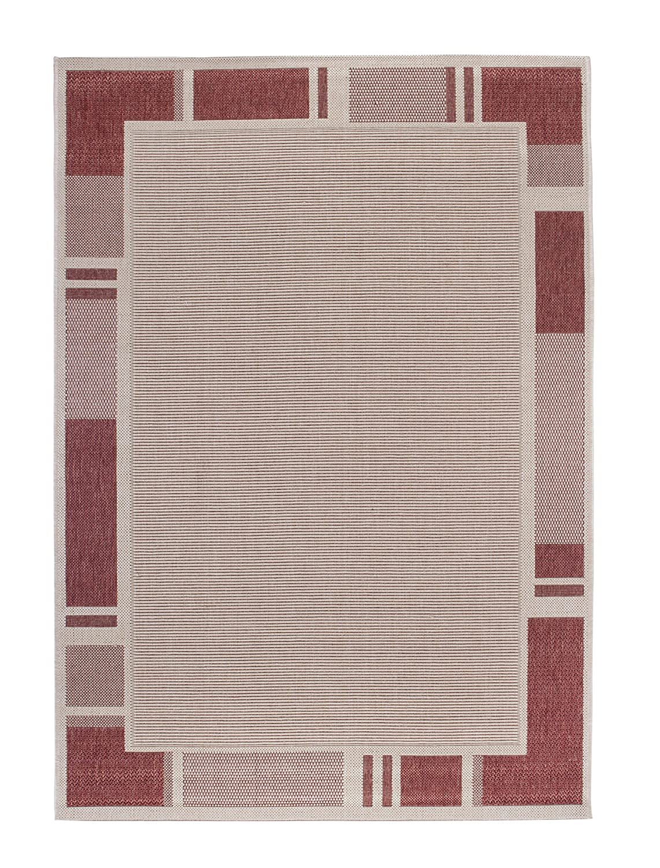 Andiamo 1100374 Webteppich Louisville Flachgewebe Bordürenmuster, 120 x 170 cm, beige Terra