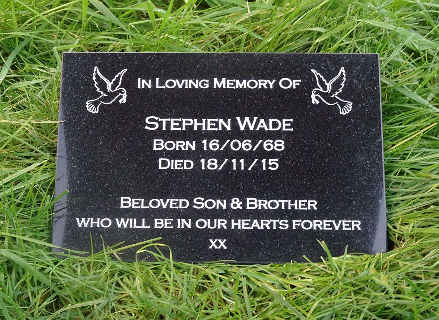 Personalised Engraved Natural Granite Memorial Plaque Grave Marker Headstone With Dove 30cm x 30cm