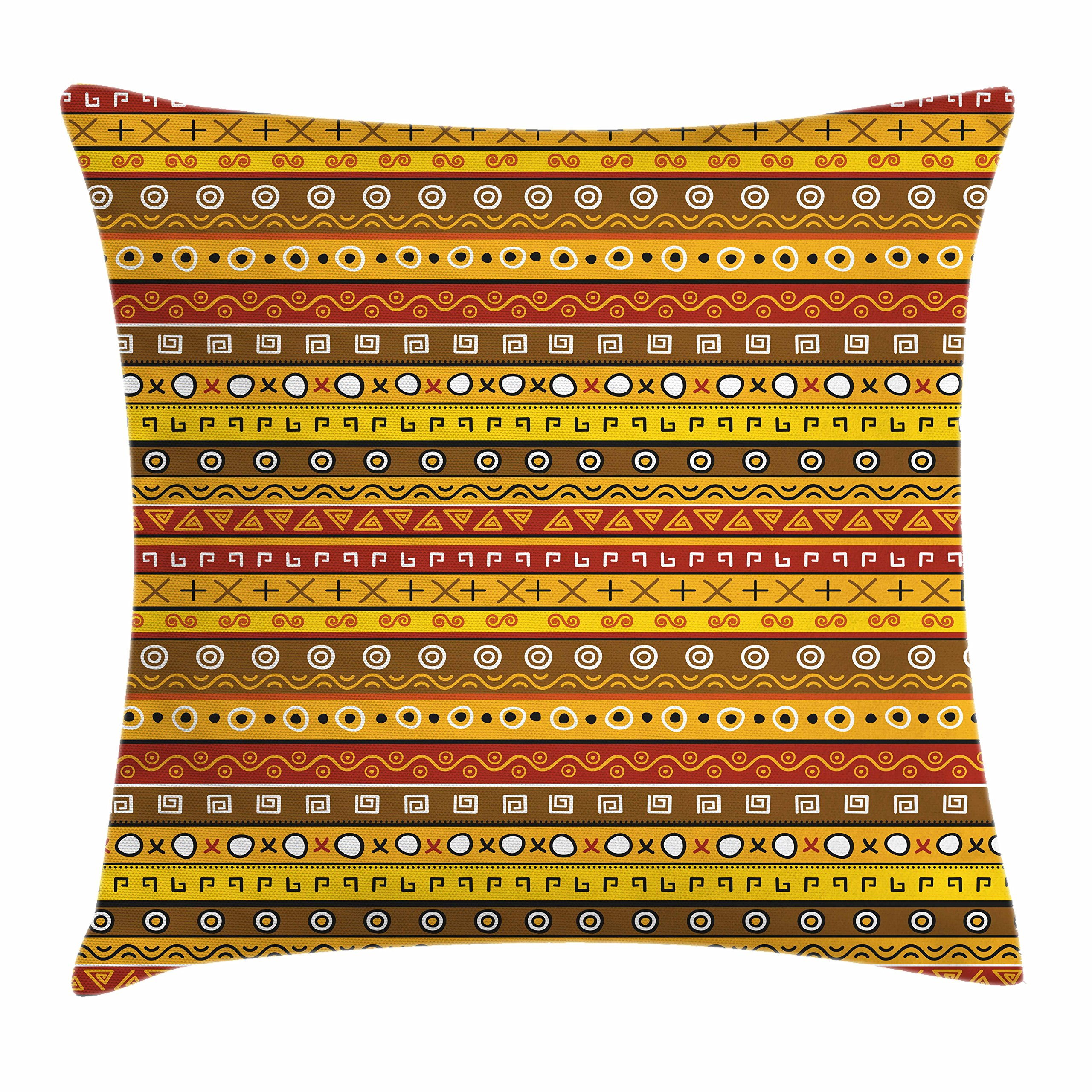 Ambesonne Primitive Throw Pillow Cushion Cover, Tribal Art with Abstract Pattern Indigenous Motif with Native, Decorative Square Accent Pillow Case, 16'' X 16'', Orange Yellow