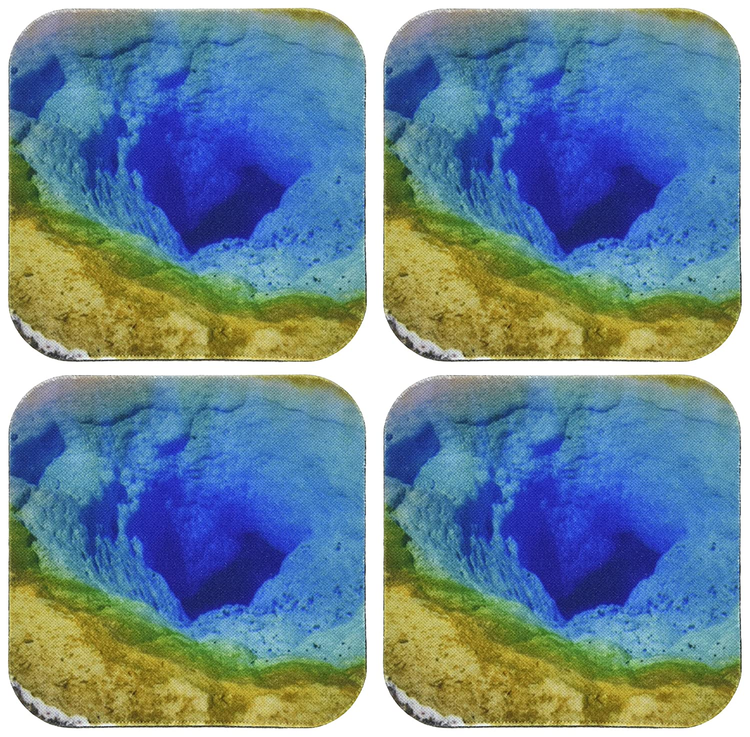 3dRose cst_66303_3 Yellowstone, Green, Blue, Yellow-Ceramic Tile Coasters, Set of 4