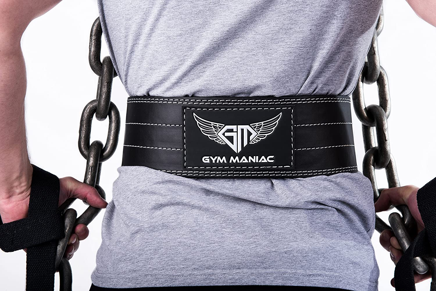Gym Maniac Leather Gym Weight Lifting Belt with Wrist Straps Compact, Adjustable, Comfy Fitness Belt Improve Back Support Stability for Powerlifting, Crossfit, Squats