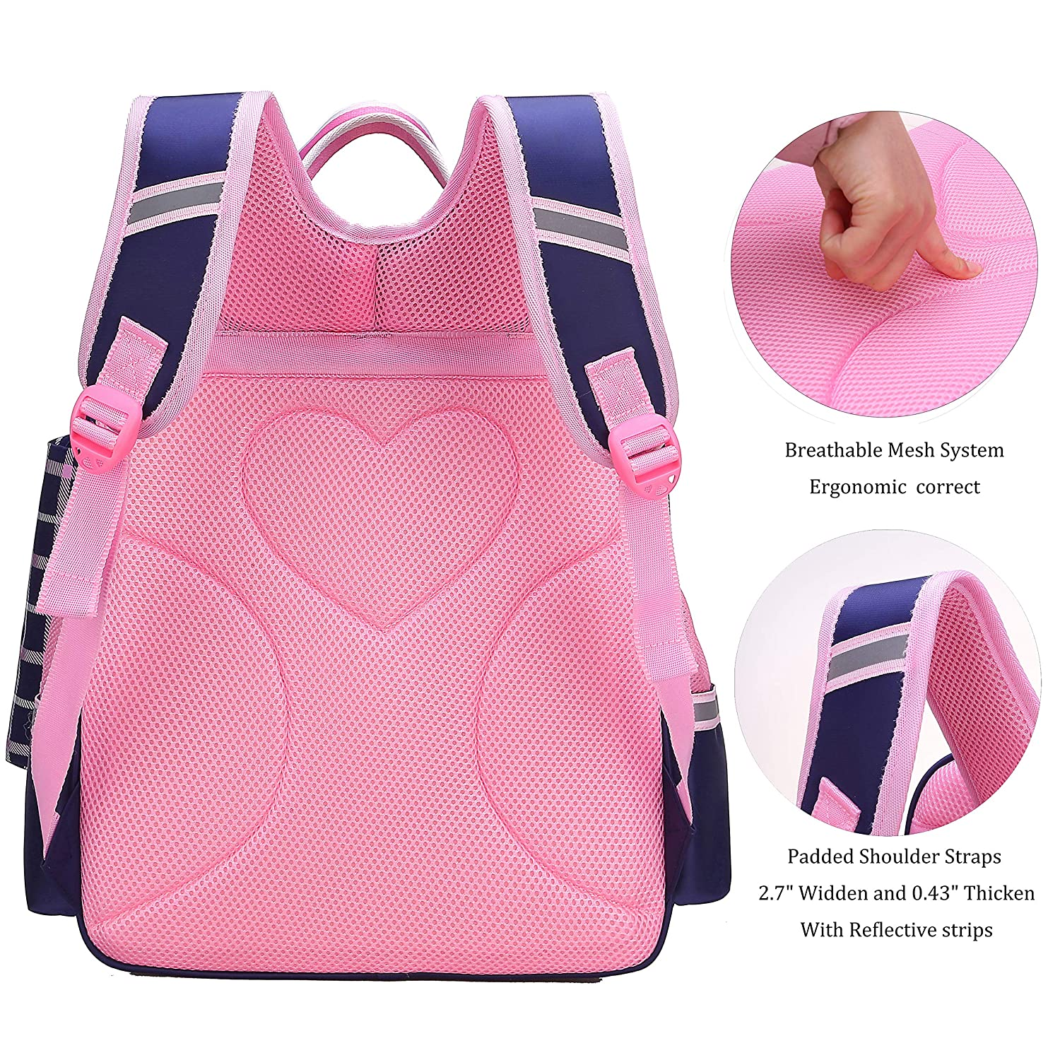 Amazon.com | Gazigo Reflective Girls Cute School Backpack PU Leather Kids Bookbag Satchel (L:16.9