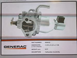 0D8332 - Generac Guardian GN220 RV carburetor (Discontinued by Manufacturer)