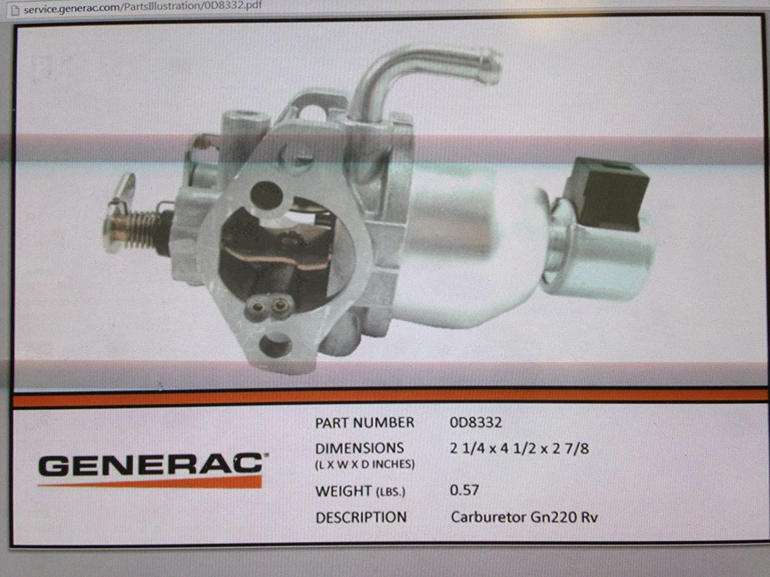 0D8332 - Generac Guardian GN220 RV carburetor (Discontinued by Manufacturer)