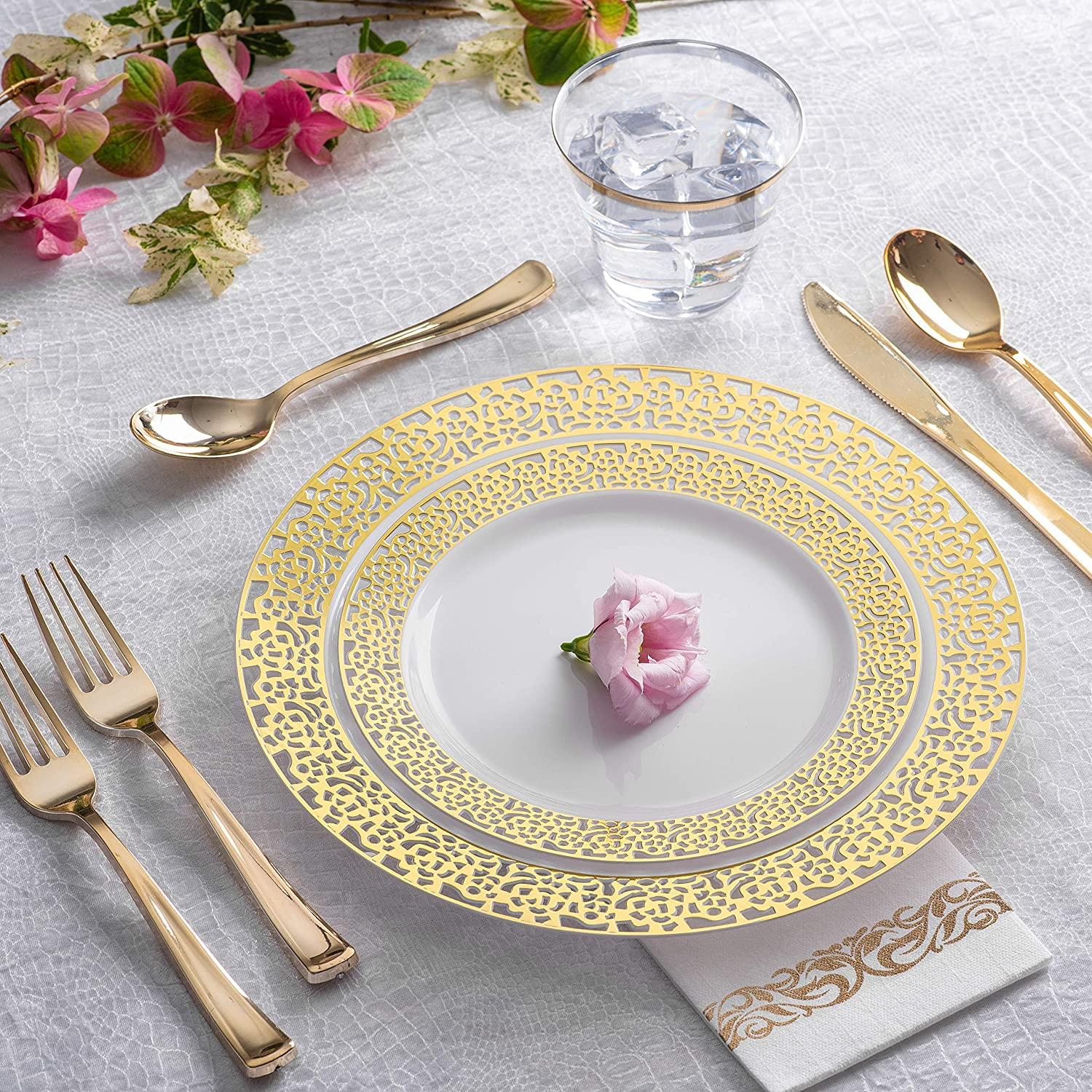 Reception Buffet 125 Piece Elegant Plastic Plates with Gold Silverware Dinner Gold Lace Gold Disposable Plates and Cutlery for Wedding Service for 25 Guests Disposable Wedding Plates