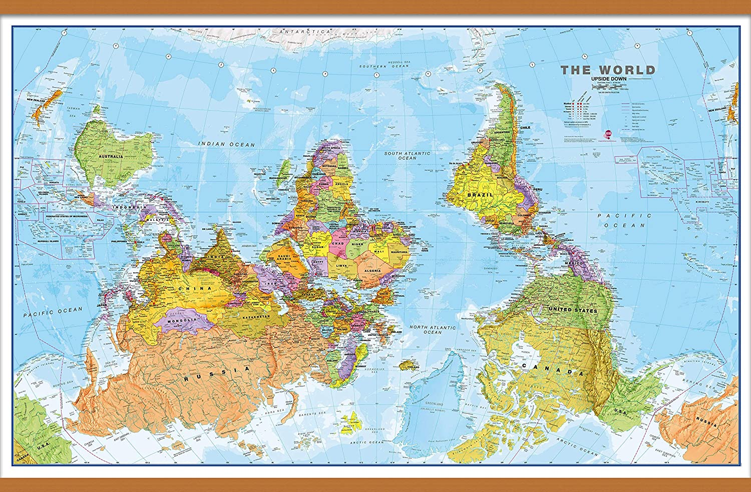 View Map Of The World.Amazon Com Maps International Large Upside Down Political World