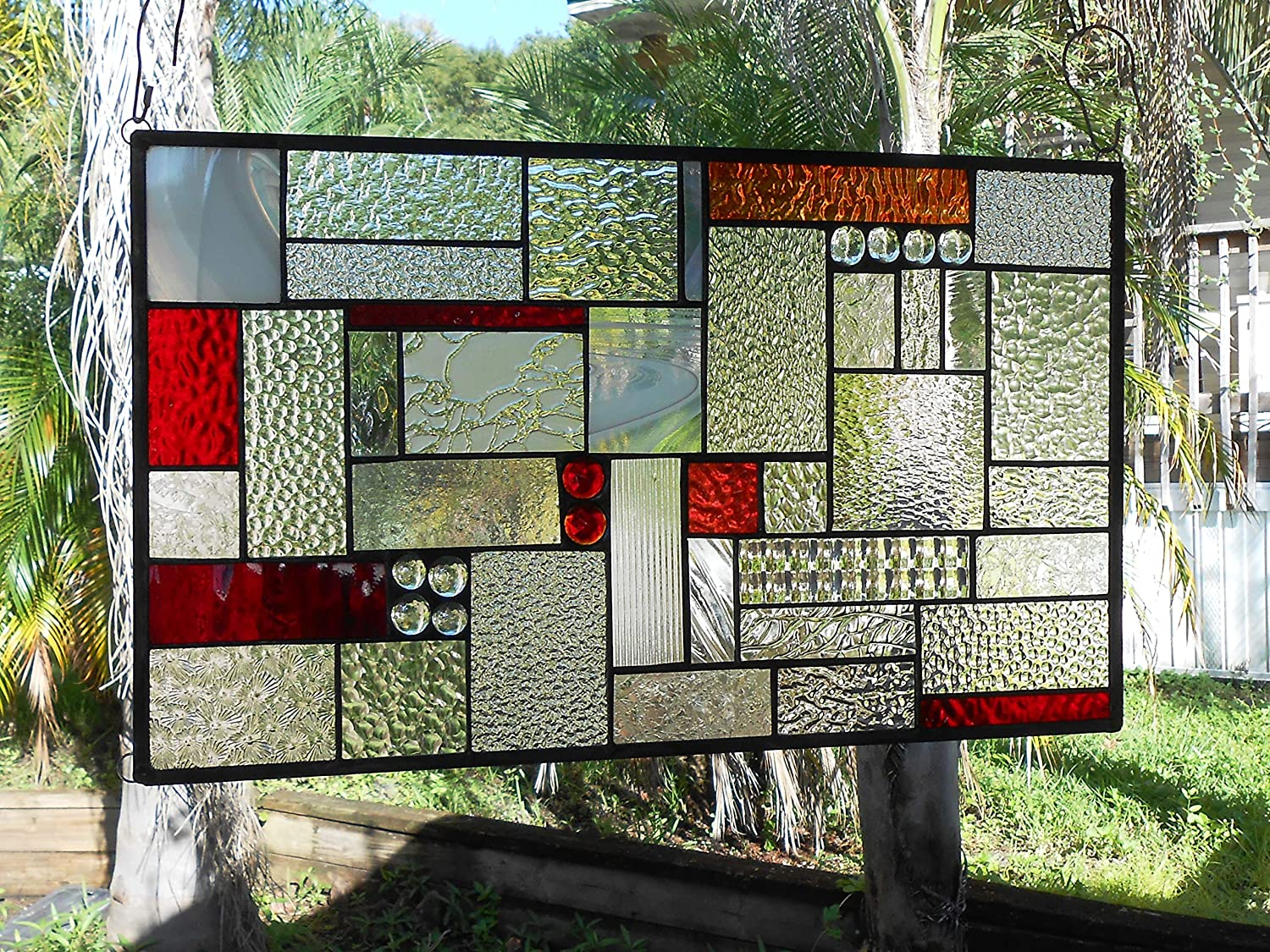 Stained Glass Window Panel, Shades of Red Patchwork Glass Quilt, Traditional Stained Glass Transom Window, Old Quilt Window Valance, OOAK