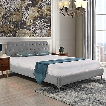 Mid Century Modern Elegant Velvet Bed Frame (Full, Dark Grey)