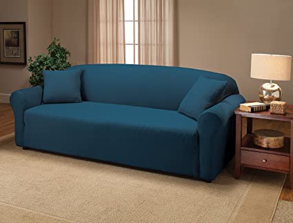 Madison Stretch Jersey Cobalt Blue Sofa Slipcover, Solid