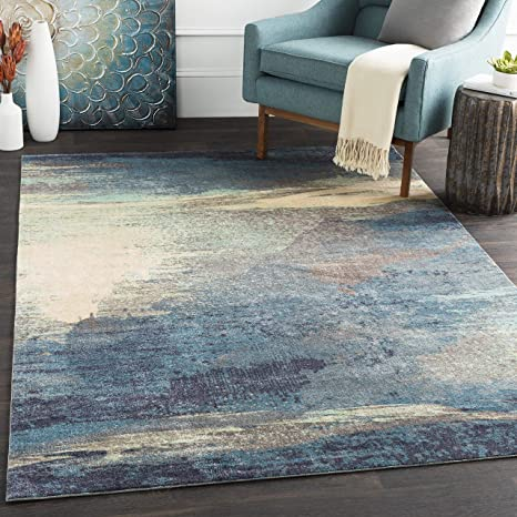 Sheldon Navy Blue And Medium Gray Modern Area Rug 8 X 10