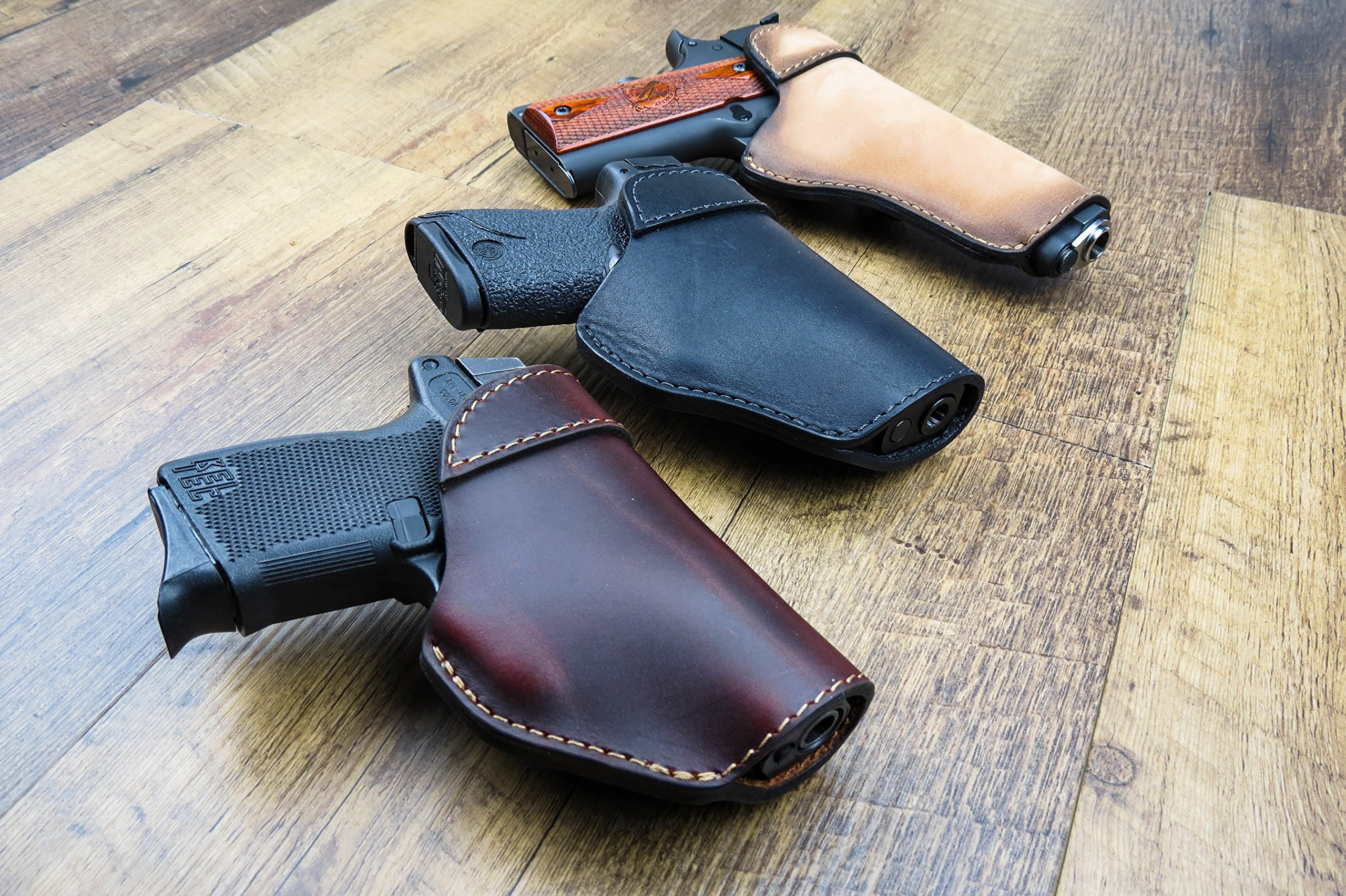Relentless Tactical The Defender Leather IWB Holster - Made in USA - For S&W M&P Shield - GLOCK 17 19 22 23 32 33/Springfield XD & XDS/Plus All Similar Sized Handguns – Charred Oak – Right Handed by Relentless Tactical (Image #7)