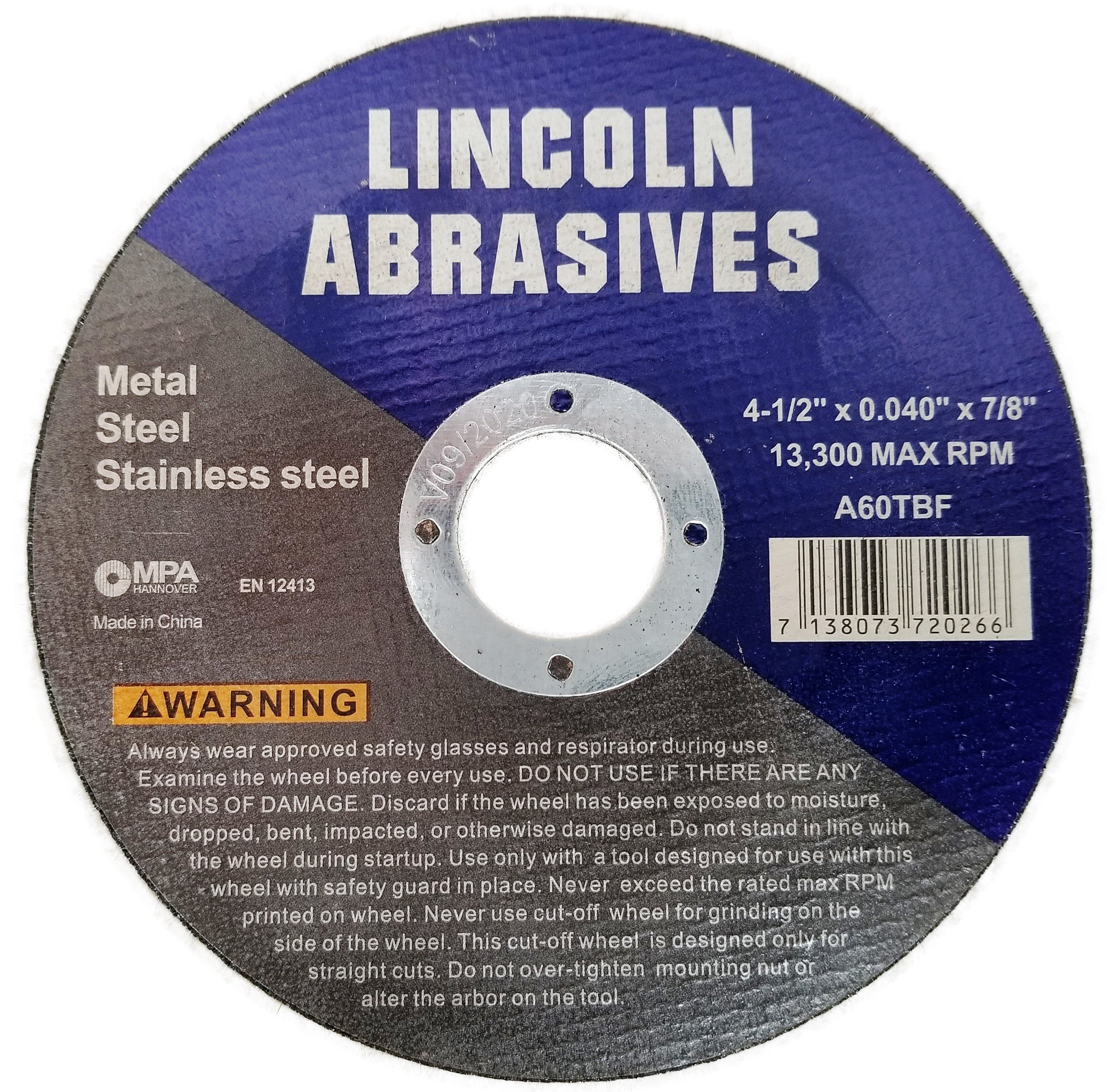 500 Pc 4.5''x.040''x7/8'' Cut-Off Wheels Lincoln Abrasives Metal & Stainless Steel by Lincoln Abrasives (Image #2)