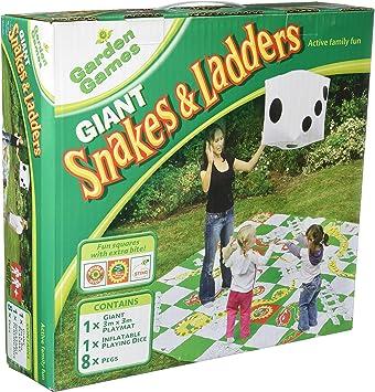 DOM Juego de serpientes y escaleras gigantes, el juego incluye 1 esterilla gigante, 8 estacas y 1 troquel inflable gigante: Amazon.es: Juguetes y juegos