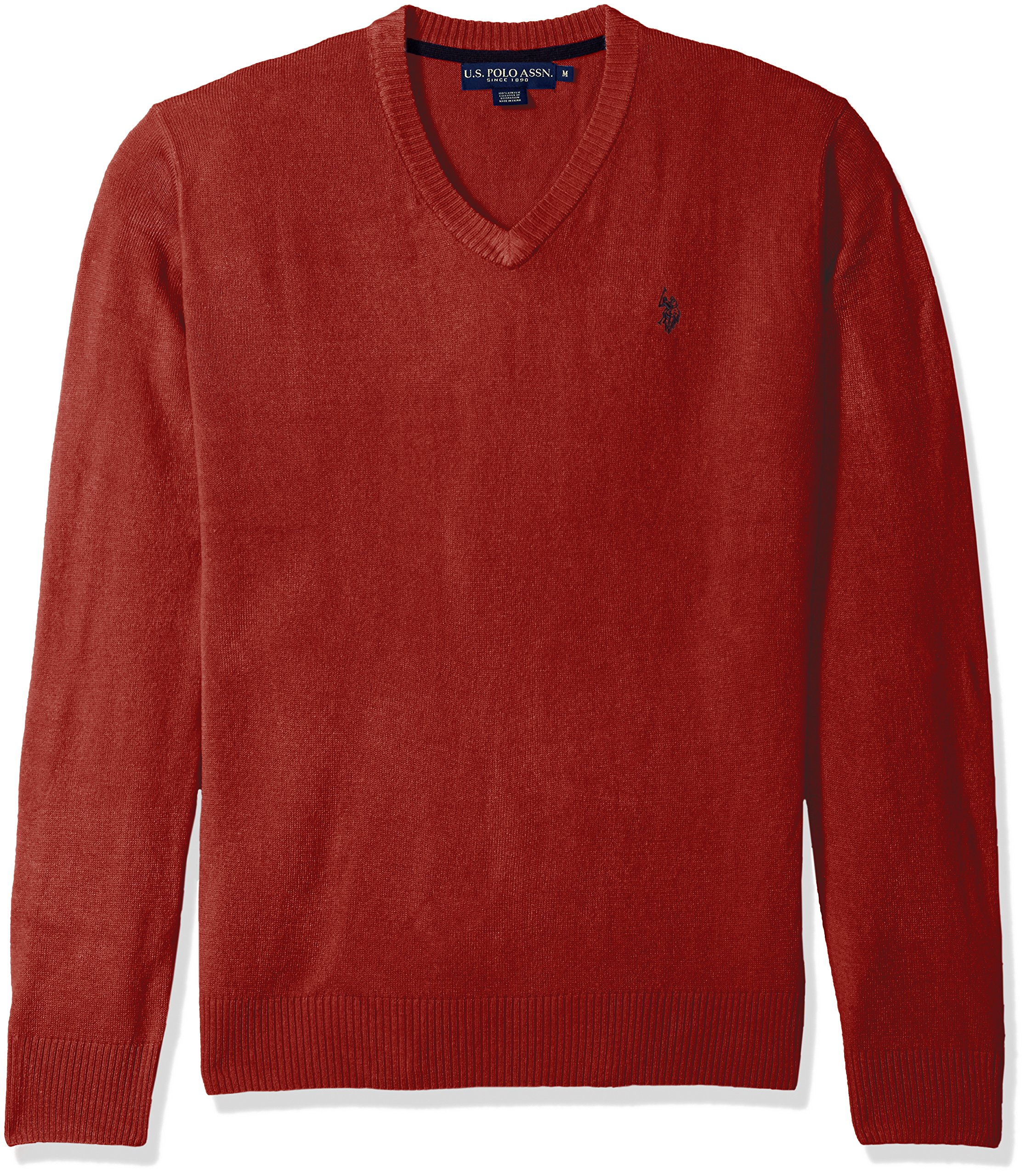 U.S. Polo Assn. Men's Solid V-Neck Sweater, Red, Small