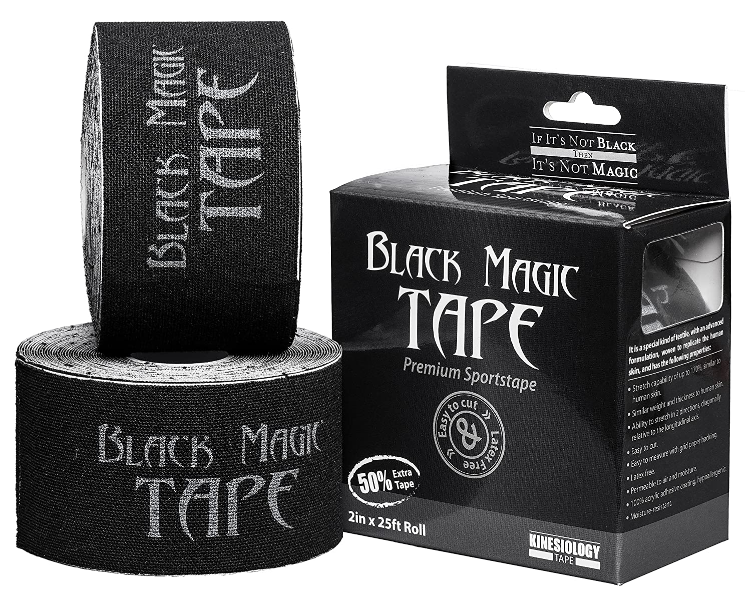 72000f7f0ab Extra Long 25 Foot Roll - Black Magic Tape - 1.5X Longer Roll - Stays  Attached Up To 5 Days - Kinesiology KT Kinesio Wrap - Use For Sports  Injuries, MMA, ...
