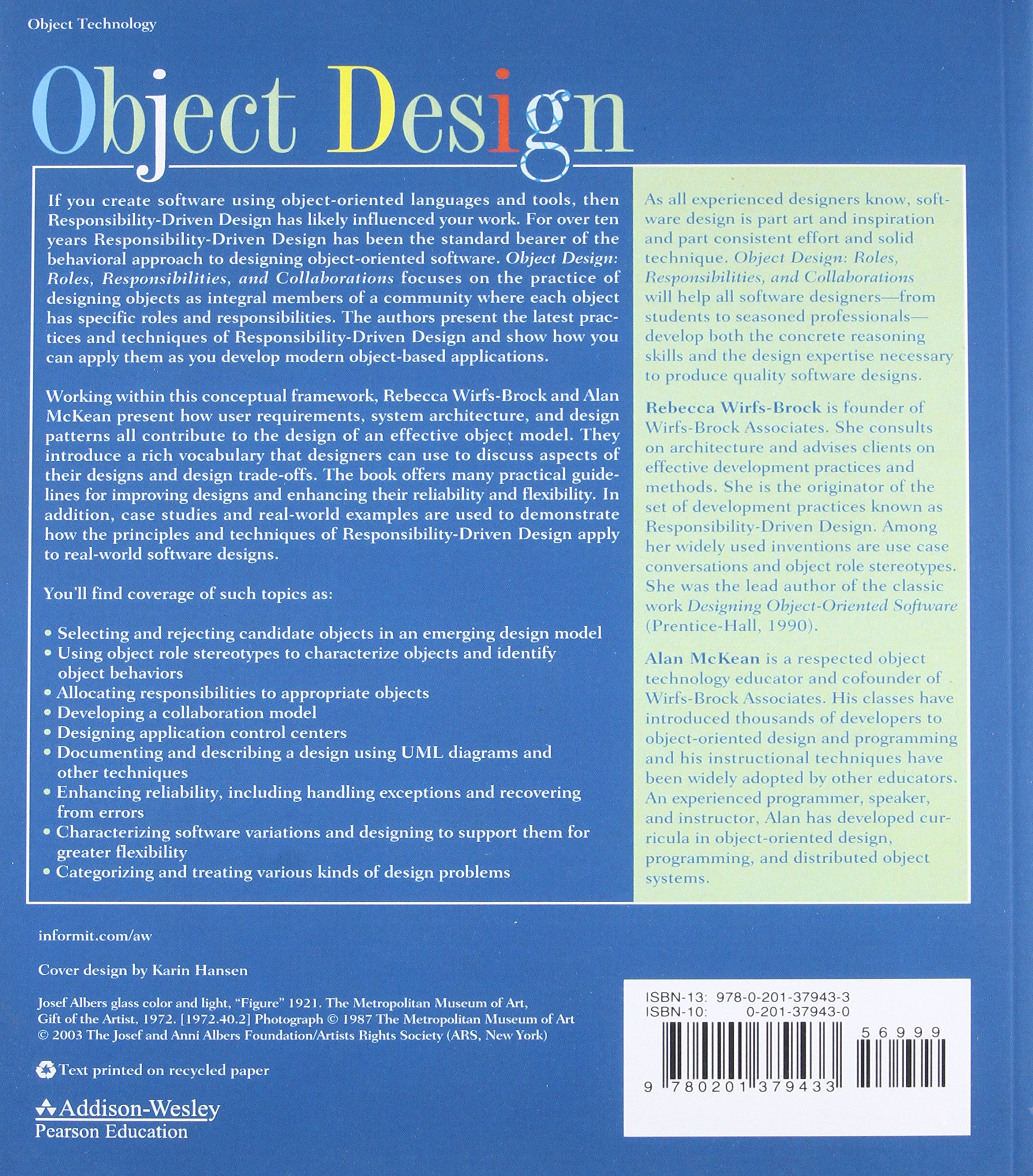 Object Design: Roles, Responsibilities, and Collaborations: Rebecca ...
