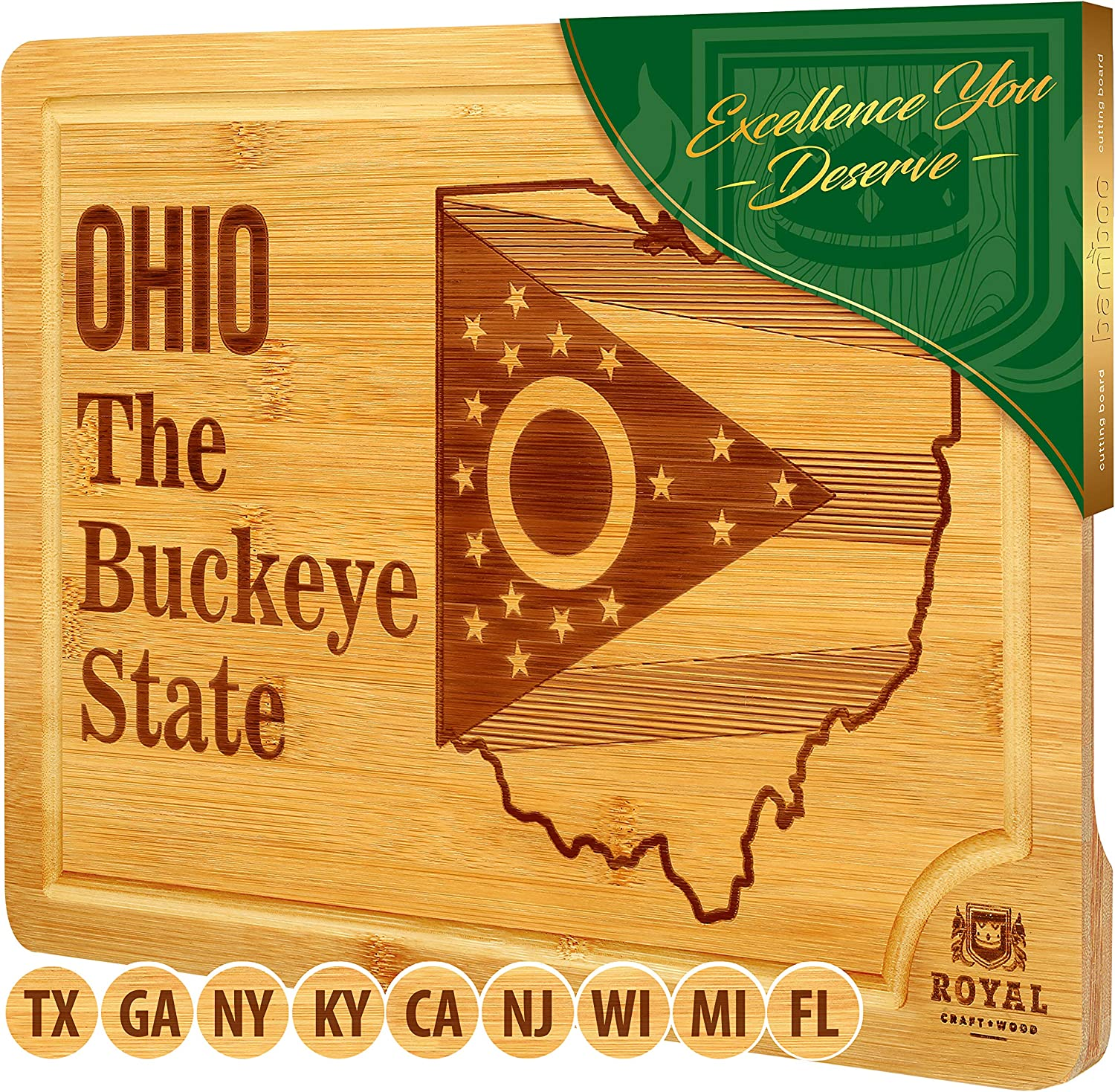 Bamboo State Cutting Board for Kitchen – Ohio Cheese Board, Charcuterie Platter & Serving Tray, (15
