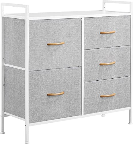 YAHEETECH 5 Drawers Dresser Fabric Storage Organizer
