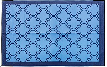 Amazon Com Camco Large Reversible Outdoor Patio Mat Mold And Mildew Resistant Easy To Clean Perfect For Picnics Cookouts Camping And The Beach 6 X 9 Lattice Blue Design 42876 Automotive