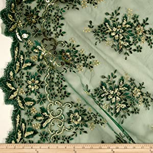 Unique Quality Fabrics Starlight Sequin & Mesh Lace Rowley Pine Green Fabric by The Yard