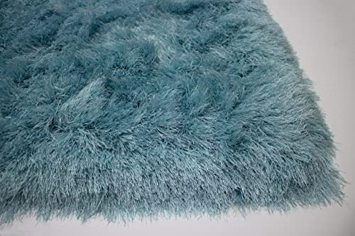 LA Large Modern Furry Fuzzy Plush Solid Textured Shag Shaggy entryway Huge Large Soft Rectangle 8-Feet-by-10-Feet Polyester Made Area Rug Carpet Rug Turquoise Blue Color
