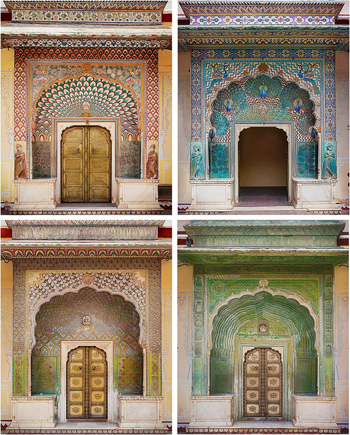 Azras Voyage Boho Wall Art Print (Set of 4, 8x10) - Bohemian Decor for Bedroom, Living Room, Walls - Moroccan Artwork, Indian Home Decor - Rustic, Unframed Pictures of Jaipur Palace Doors, Rajasthan