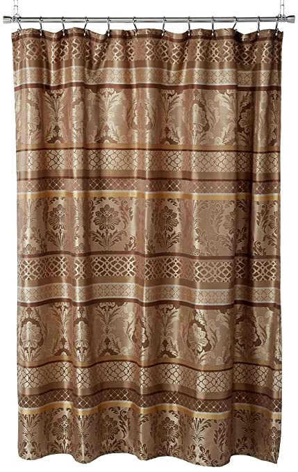 Amazon Madison Park Bellagio Jacquard Shower Curtain Brown