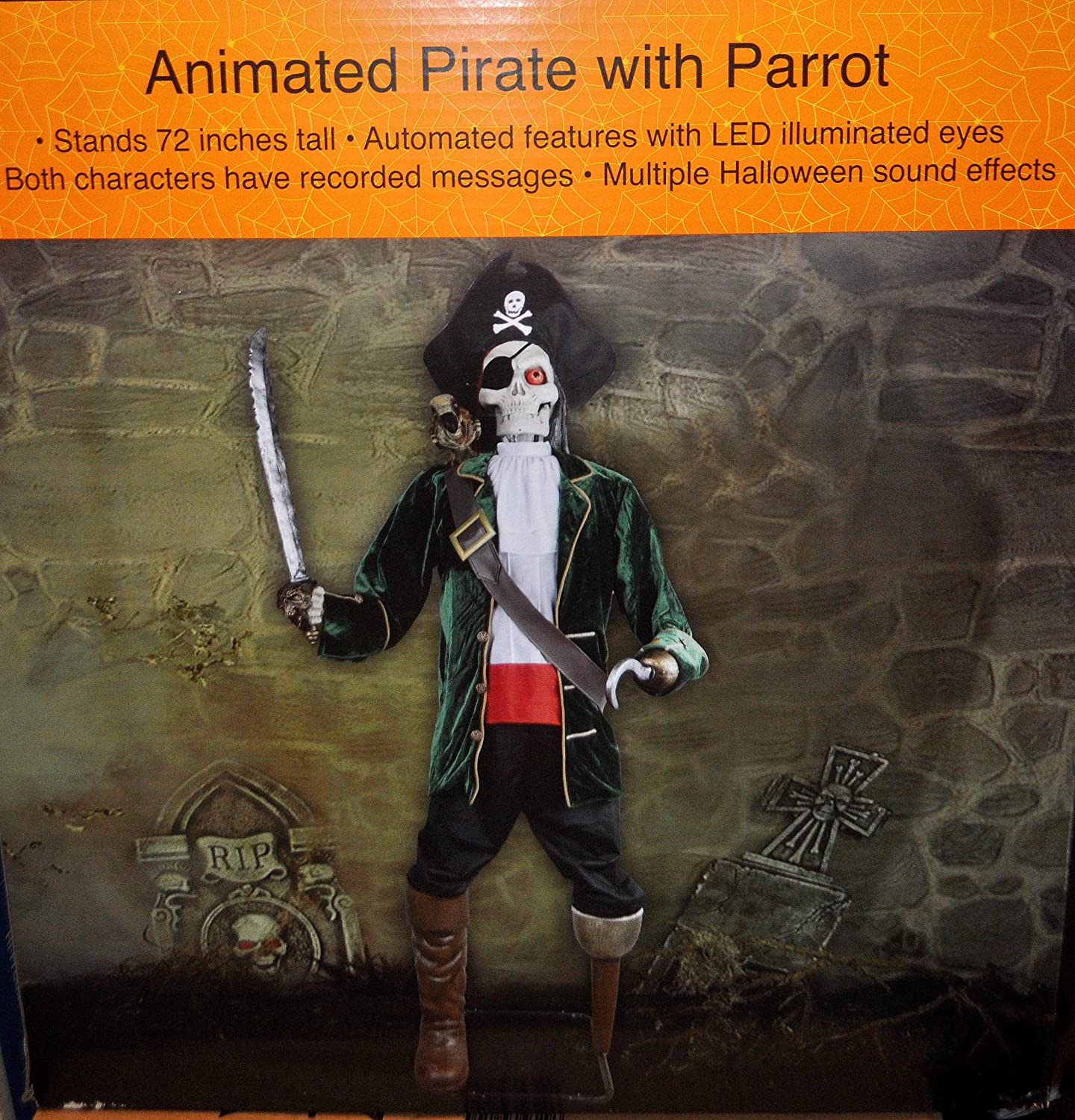 amazoncom lifesize animated talking pirate skeleton with talking parrot halloween prop patio lawn garden - Talking Halloween Skeleton