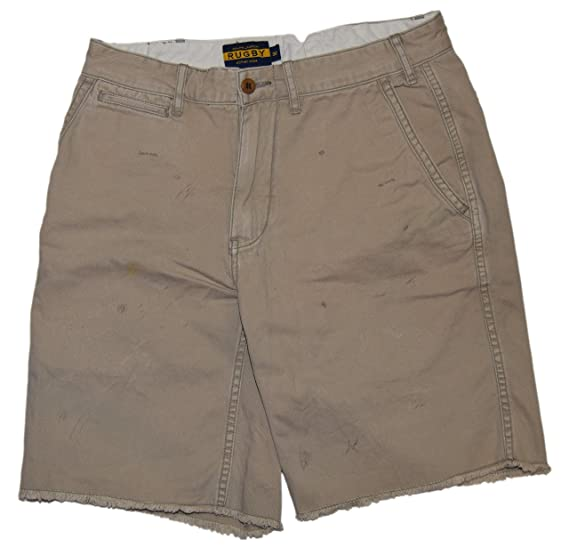 Ralph Lauren Polo Rugby Mens Shorts Khaki Tan Brown Flat Front Distressed