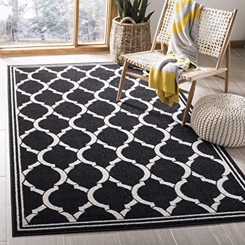 Safavieh Amherst Collection AMT415G Geometric Trellis Area Rug, 3 x 5 , Anthracite Ivory