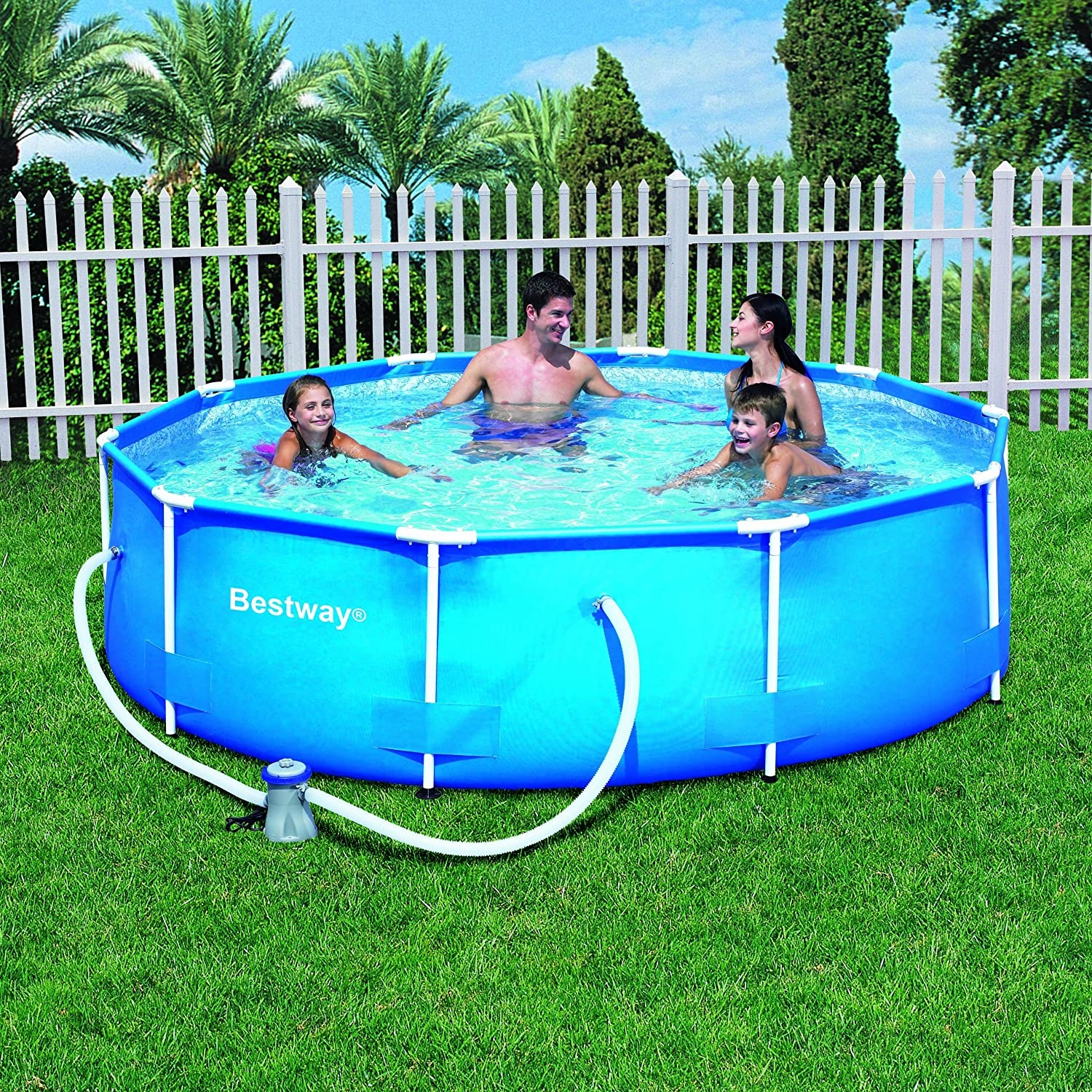 Amazon Com Bestway 10 Foot By 30 Inch Steel Pro Round Frame Pool Set Garden Outdoor