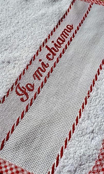 Fabriqu/é en Italie Rosso con pennarelli Sac 100/% coton /éponge serviette avec toile A/ïda /à broder ou /écrire bavoir BRUCHINO Italy/® Set de cr/èche complet 3 pi/èces