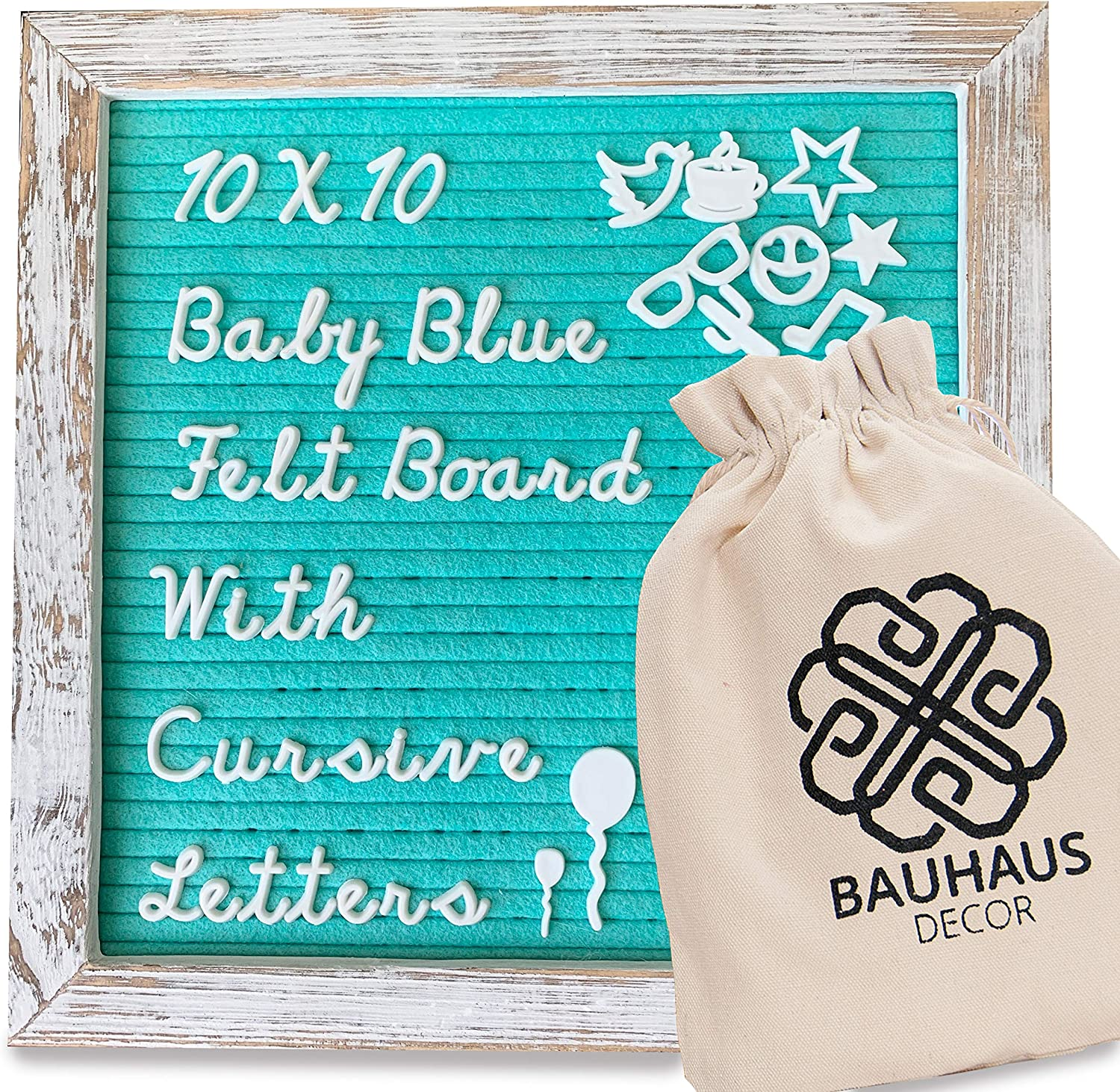 Bauhaus Decor Felt Letter Board with White Rustic Farmhouse Frame and Stand 10x10 inch, Baby Blue / Mint Green Changeable Message Board Includes 395 CURSIVE Letters, Numbers, and Symbols, a Canvas Bag