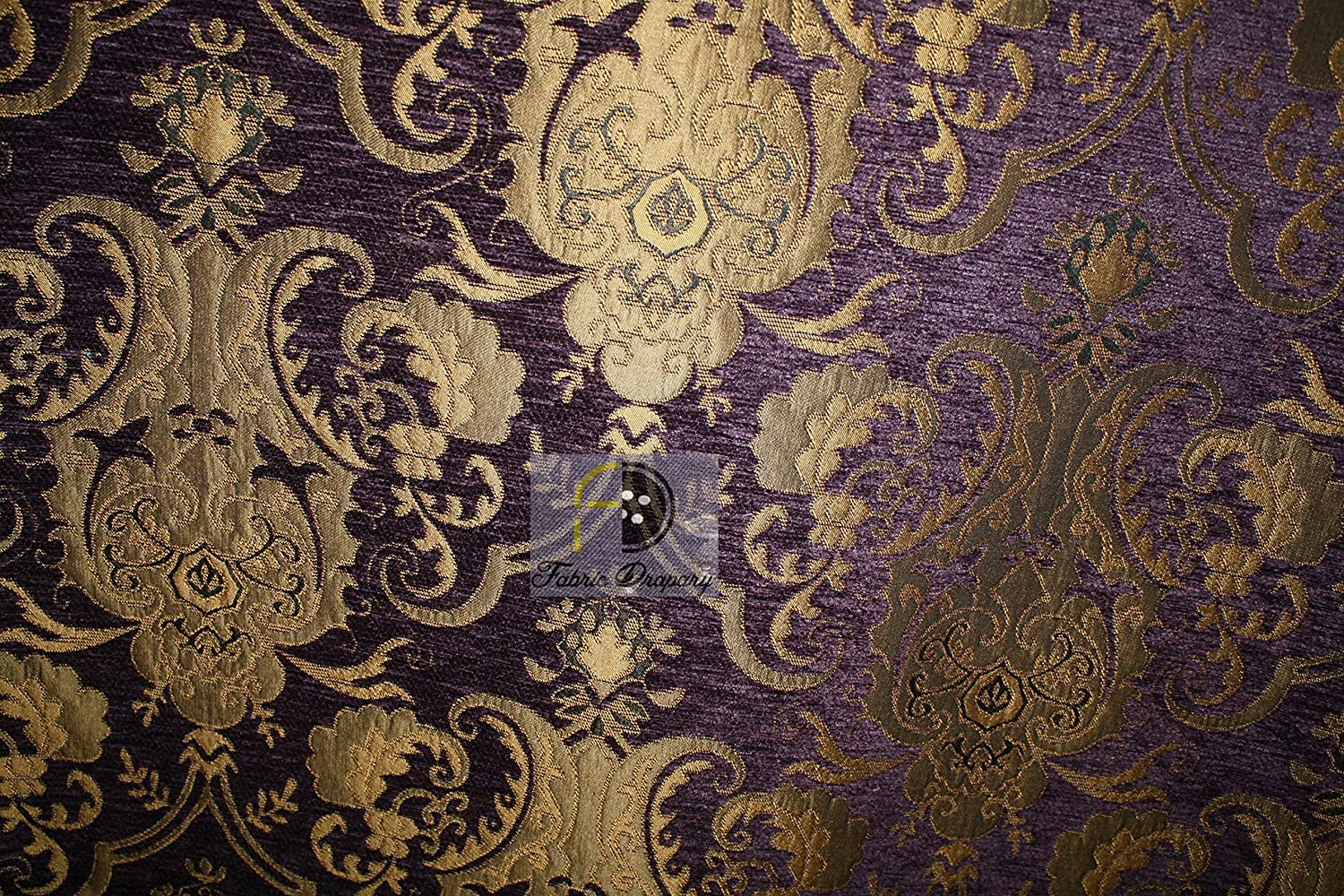 Chenille Renaissance Home Decor Upholstery, Sold by The Yard (Purple/Gold)