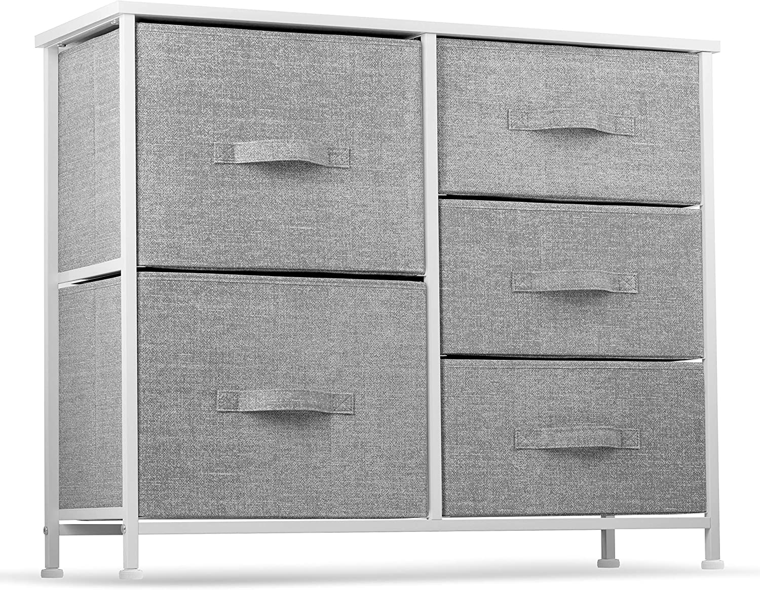 5 Drawer Dresser Organizer Fabric Storage Chest for Bedroom, Hallway, Entryway, Closets, Nurseries. Furniture Storage Tower Sturdy Steel Frame, Wood Top, Easy Pull Handle Textured Print Drawers: Kitchen & Dining
