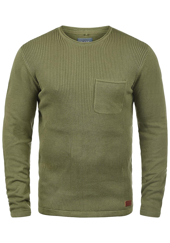 Blend Bagger Herren Strickpullover Feinstrick Pullover Mit Rundhals Und Brusttasche Aus 100% Baumwolle