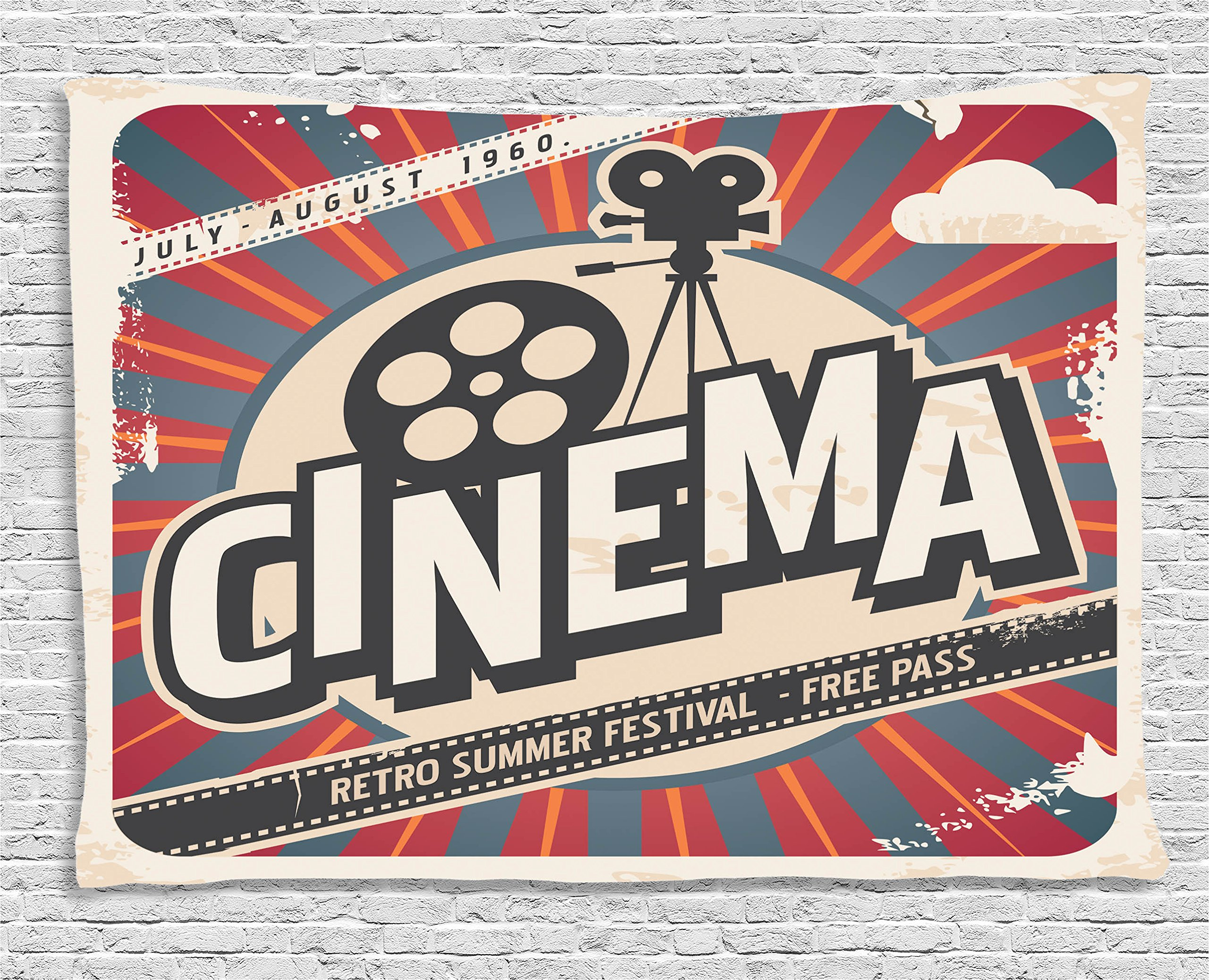 Ambesonne Vintage Decor Tapestry, Retro Cinema Movie Vintage Paper Texture Hollywood Stars Decorative Design, Wall Hanging for Bedroom Living Room Dorm, 60 W X 40 L, Beige Amber Charcoal and Grey