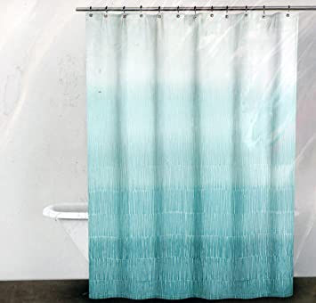 DKNY Fabric Shower Curtain Blue And Turquoise Line Pattern On White Twine  Spa