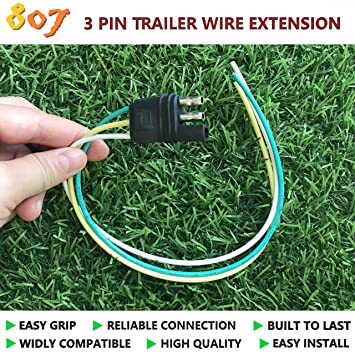 Amazon.com: BBTree 807 3 Pin Flat Plug with Trailer Extension ... on