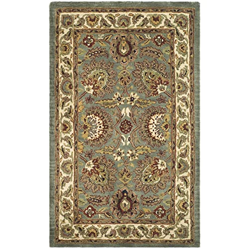 Safavieh Classic Collection CL359B Handmade Traditional Oriental Celadon and Ivory Wool Area Rug 3 x 5