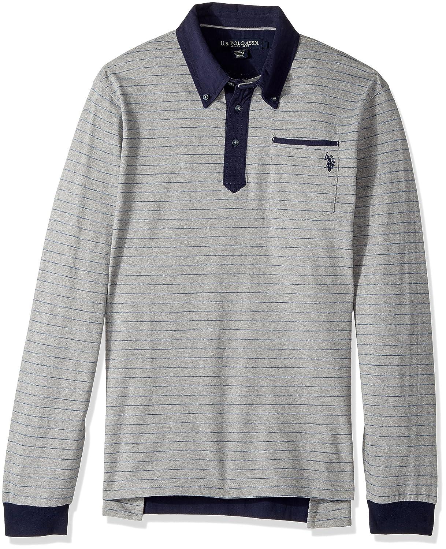 U.S Mens Classic Fit Striped Long Sleeve Pique Shirt Polo Assn