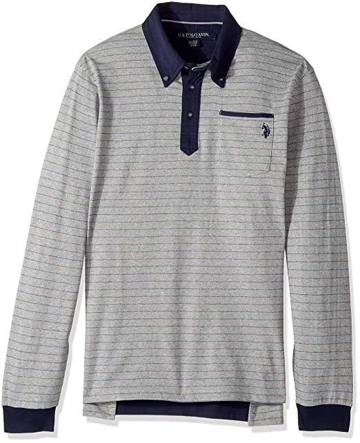 U.S. Polo Assn. Men\u0027s Classic Fit Striped Long Sleeve Pique Polo Shirt,  8624-
