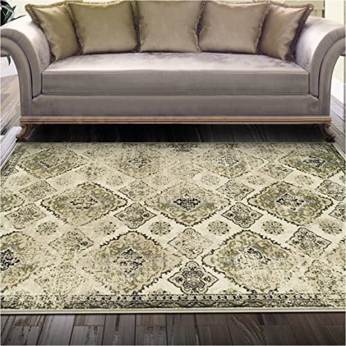 Superior Mayfair Collection Area Rug, 8mm Pile Height with Jute Backing, Vintage Distressed Medallion Pattern, Fashionable and Affordable Woven Rugs – 8 x 10 Rug, Ivory