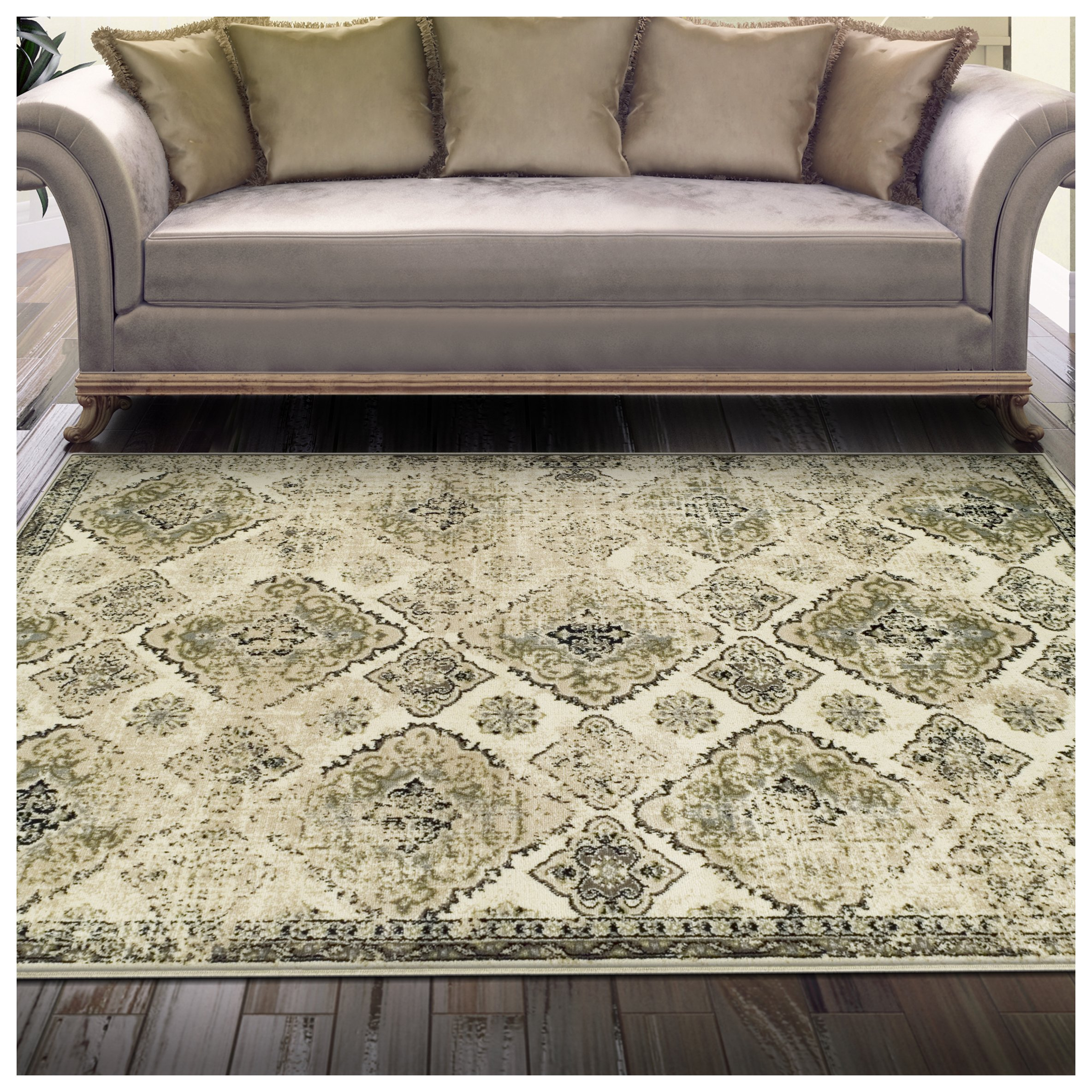 Superior Mayfair Collection Area Rug, 8mm Pile Height with Jute Backing, Vintage Distressed Medallion Pattern, Fashionable and Affordable Woven Rugs - 5' x 8' Rug, Ivory by Superior