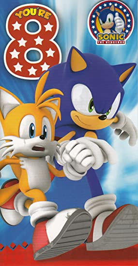 Sonic The Hedgehog 8th Birthday Card With Badge By Gemma Amazon