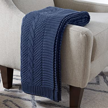 Stone & Beam 100% Cotton Transitional Chunky Cable Knit Throw, 70  x 40 , Indigo