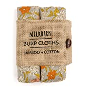 Milkbarn Bamboo Cotton Burp Cloths Grey Floral  - Set of 2