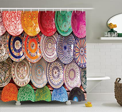 Ambesonne Moroccan Decor Shower Curtain Set Traditional Arabic Handcrafted Colorful Plates Shot At The