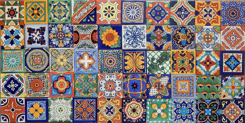 50 Hand Painted Talavera Mexican Tiles 4x4 Spanish Mediterranean Color y Tradicion 50 4x4 Mixtas