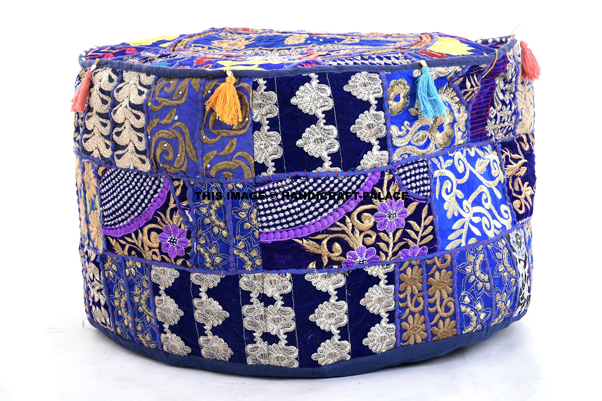 Indian Vintage Patchwork Ottoman Pouf , Indian Living Room Pouf, Foot Stool, Round Ottoman Cover Pouf, Floor Pillow Ottoman Poof,Traditional Indian Home Decor Cotton Cushion Ottoman Cover 14x22' by HANDICRAFT-PALACE